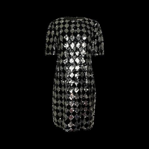 Saks Fifth Avenue Diamond Check Pattern Sequin Dress