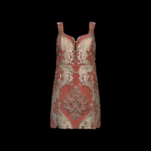 For Love & Lemons Pink Brocade Tapestry Mini Dress