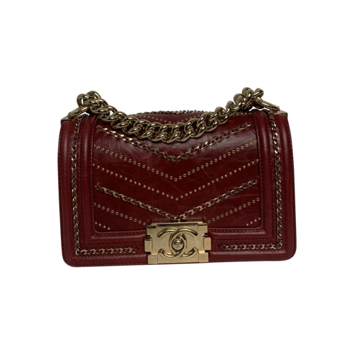 CHANEL Red Boy Chevron Chain Bag