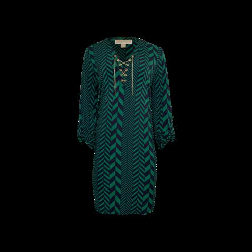 Michael Kors Green Chevron Print Dress w/ Gold Chain