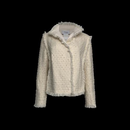 AKRIS Cream Fringe Trimmed Jacket