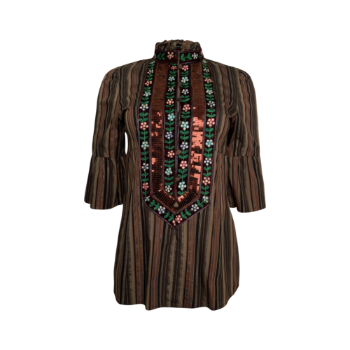 Nanette Lepore Stripe Embellished and Embroidered Top