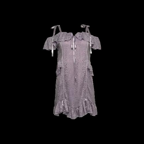 Majorelle Lavender Lace and Ribbon Off-the-Shoulder Dress