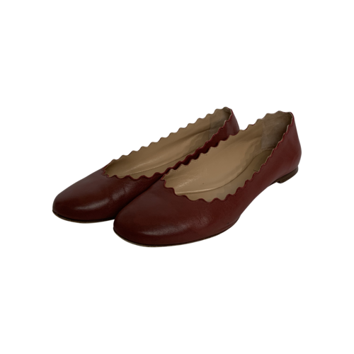 Chloé Maroon Scalloped Leather Flats