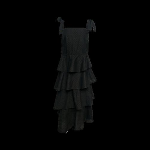 Eloquii Black Tie Strap Tiered Dress