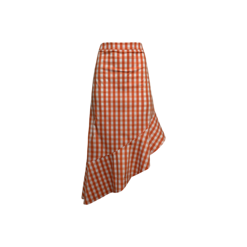 Eloquii Orange Gingham Midi Skirt w/Flounce