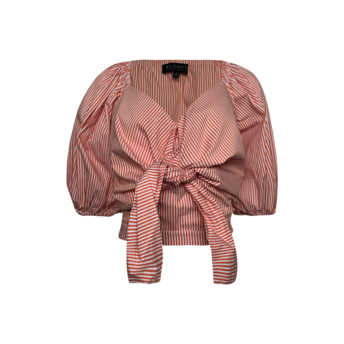 Eloquii Striped Puff Sleeve Tie Front Top