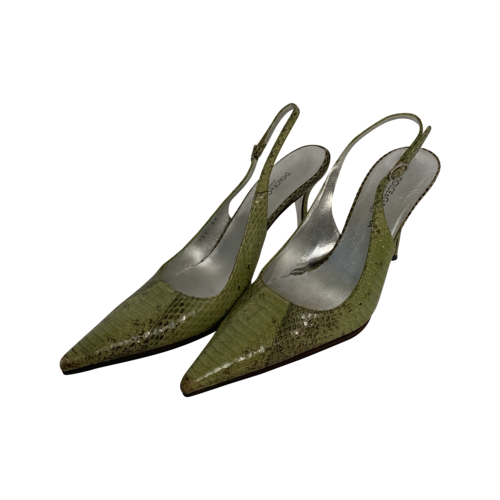 Dolce & Gabbana Green Snakeskin Slingback Heels