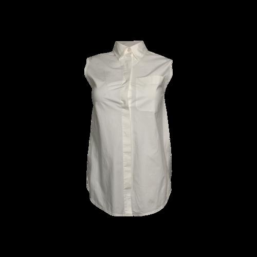 Alexander Wang White Deconstructed Sleeveless Button Up Top