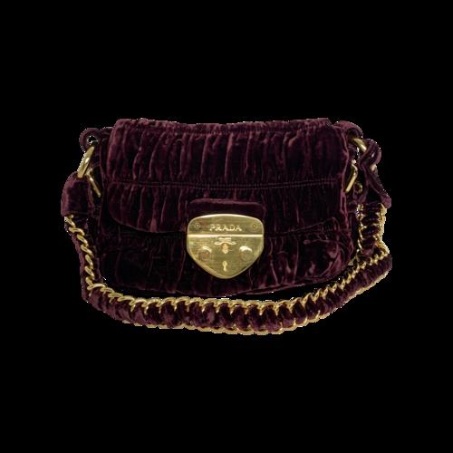 Prada Purple Velvet Push-Lock Chain Bag