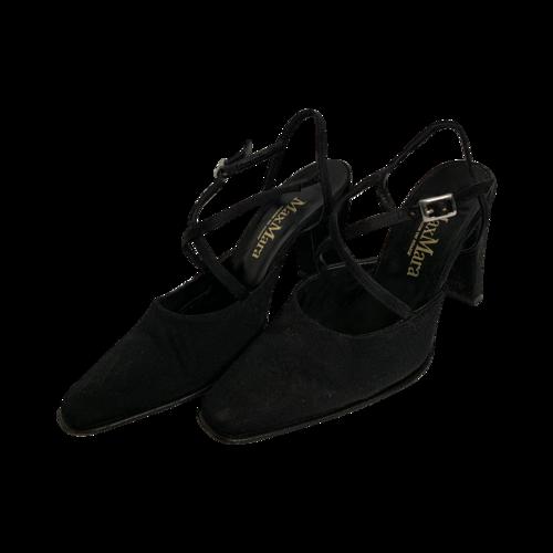 Max Mara Black Criss-Cross Strap Satin Heels