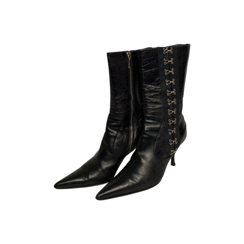 Dolce & Gabbana Black Pointed Multi-Clasps Boots