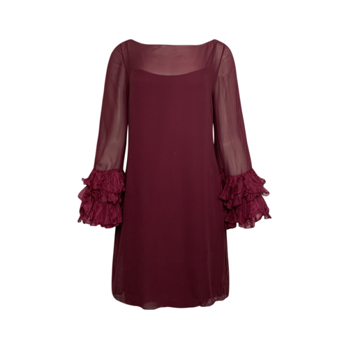 Marchesa Notte Maroon Ruffle Sleeve Sheer Overlay Dress
