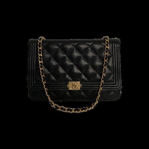 "CHANEL Black Caviar Wallet-on-Chain ""Boy"" Bag"