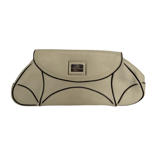Giorgio Armani White Leather Oversized Clutch