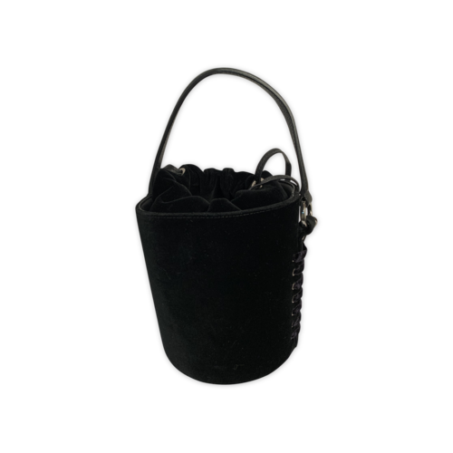 "Meli Melo Black ""Santina"" Mini Velvet Bucket Bag"