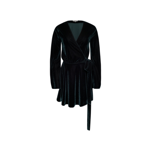 L'Academie Green Velvet Wrap Dress