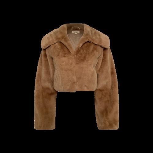 Camila Coelho Beige Cropped Faux Fur Jacket
