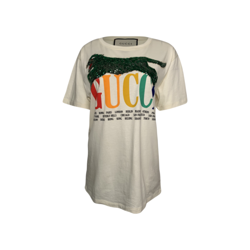 Gucci Cities Logo T-Shirt w/ Sequined Panther
