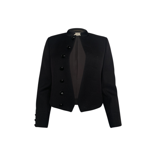 Yves Saint Laurent Black Cropped Wool Buttoned Jacket