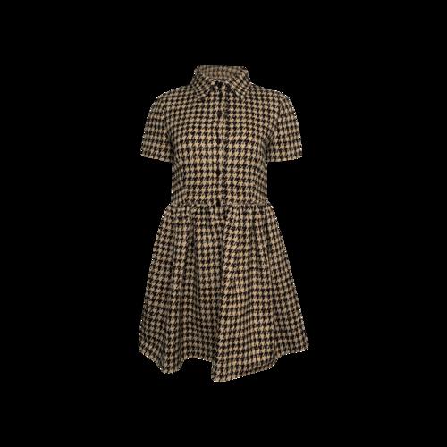 Dior Beige Houndstooth Print Buttoned Dress