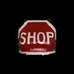 """Red Sequined """"Shop"""" Sign Crop Top"""