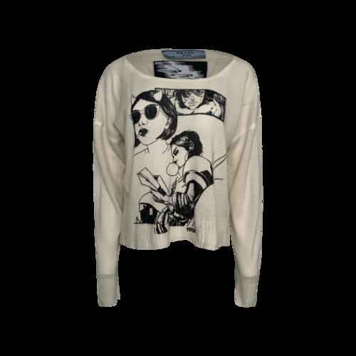 Prada Cream Comic Book Print Cashmere Sweater