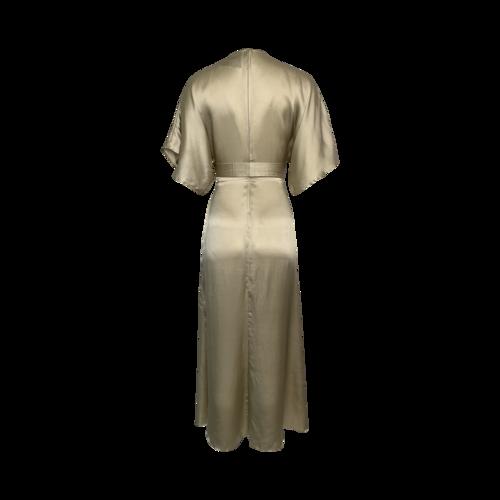 Gold Low Cut Faux-Wrap Dress