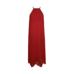 Red Accordion Pleat Dress