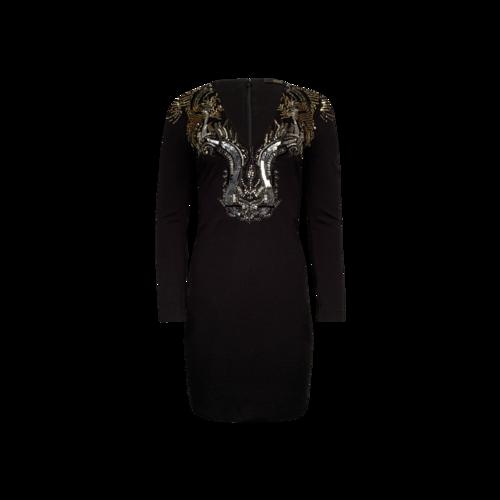 Roberto Cavalli Black Body-Con Embellished Dress