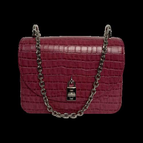 "Rebecca Minkoff Dark Raspberry Croc Embossed Leather ""Love Too"" Crossboy Bag"
