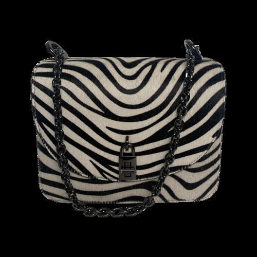 """Rebecca Minkoff Zebra Pattern Haircalf """"Love Too"""" Crossbody Bag"""