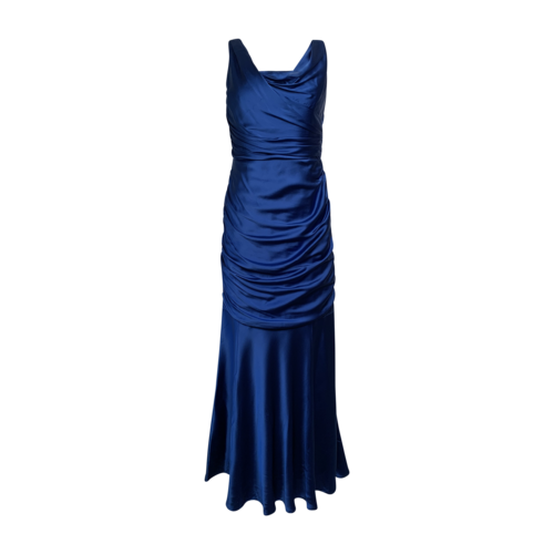 David Meister Blue Drape Ruched Gown