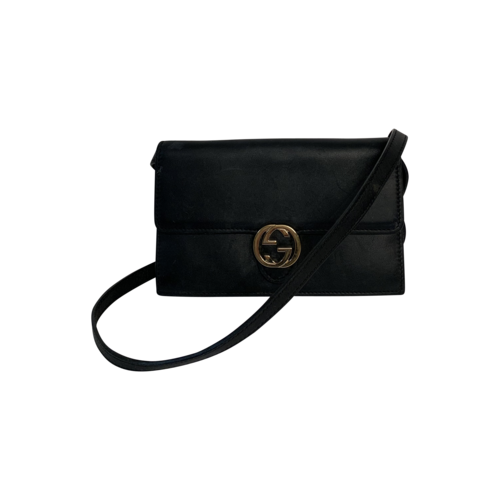 """Gucci Black """"Icon"""" Leather Wallet Bag"""
