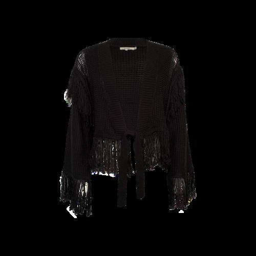 """Tularosa Black """"Selena"""" Fringe Knit Cropped Jacket"""