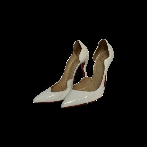 """Christian Louboutin White Patent Leather """"Dalida"""" Pump"""