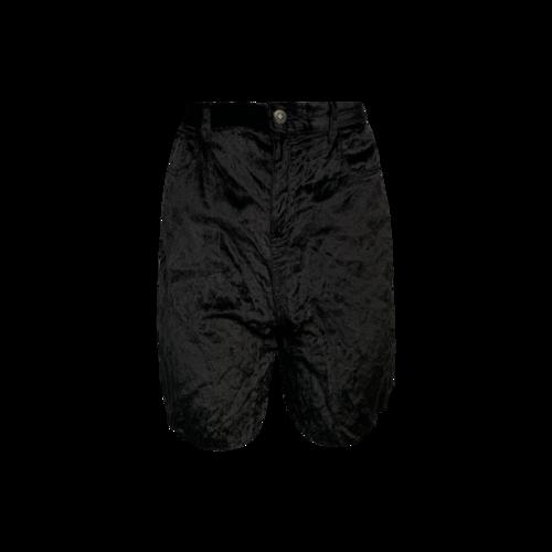 A.F. Vandevorst Black Velvet Raw Hem Shorts