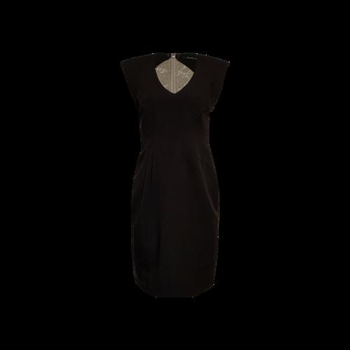 Black Halo Black Lace Back Stretch Twill Sheath Dress