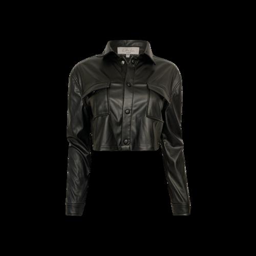 L'Academie Black Faux Leather Top