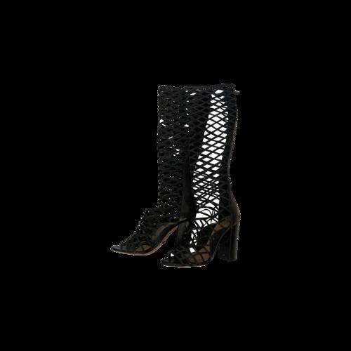 "Schutz Black ""Liza"" Leather Gladiator Boots"