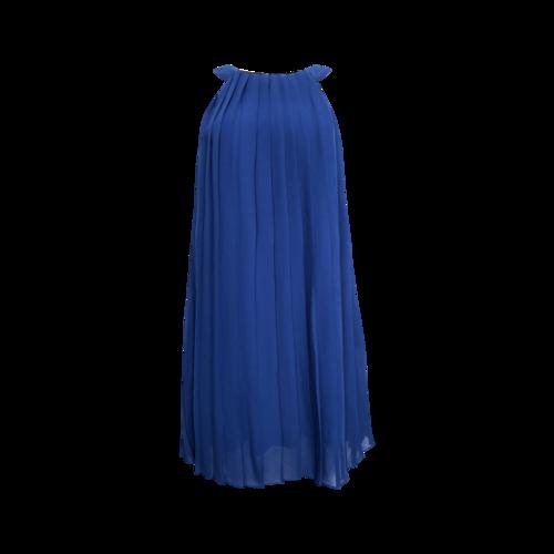 Badgley Mischka Blue Pleated Halter Dress