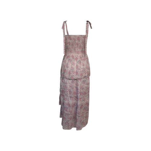 Multi Floral Long Tiered Smock With Shoulder Tie Straps