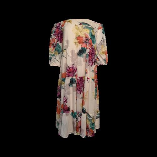 Trina Turk Multi Floral Midi Print Tiered Dress