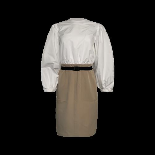 LDT White & Beige Midi Puffed Sleeve Dress With Black Belt