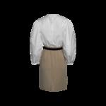 White & Beige Midi Puffed Sleeve Dress With Black Belt
