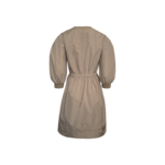 Beige Puffed Sleeve Cinched Dress