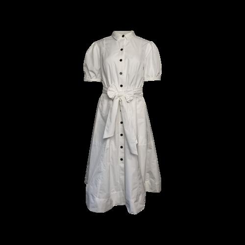 White Puff Sleeve Shirt Dress