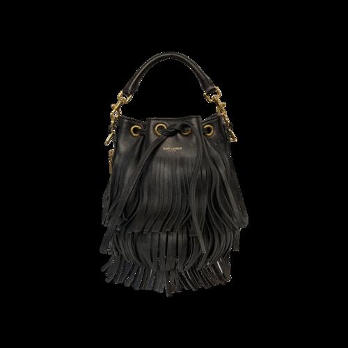 """Yves Saint Laurent Black """"Emmanuelle"""" Fringe Bag"""