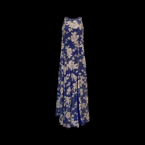 "Yumi Kim Blue ""Dream"" Maxi Dress In French Rose Royal Silk Print"