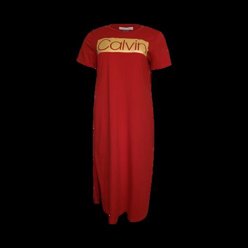 Calvin Klein Red Logo T-Shirt Dress